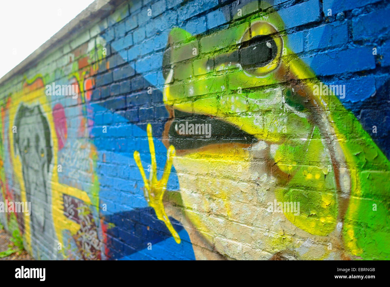 frosch als ein graffiti auf eine mauer deutschland bayern stein stockfoto bild 76124507 alamy. Black Bedroom Furniture Sets. Home Design Ideas