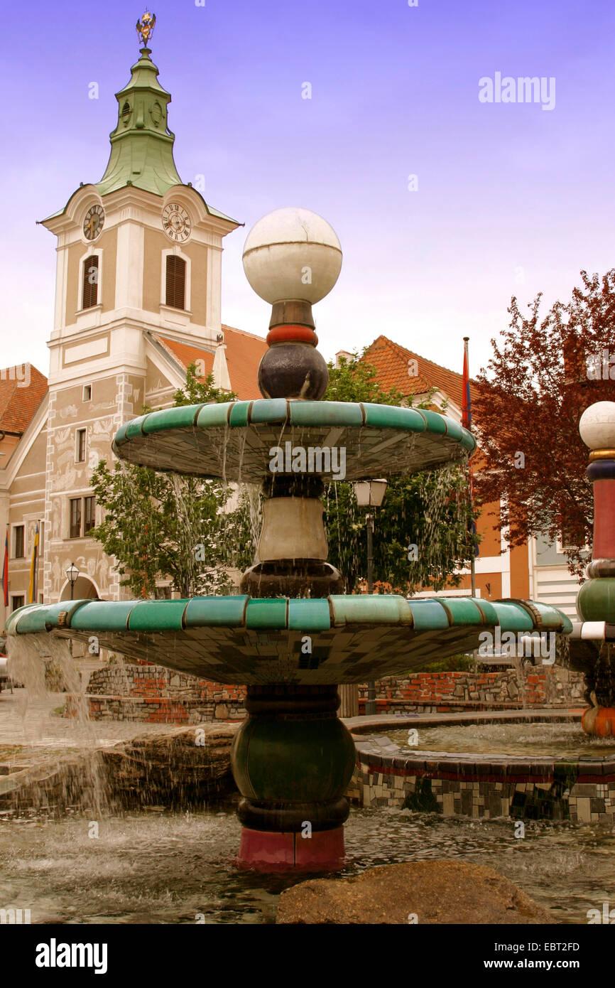Zwettler Hauptplatz, nur für den redaktionellen Gebrauch, Zwetl, Waldviertel, Niederösterreich, Österreich Stockbild