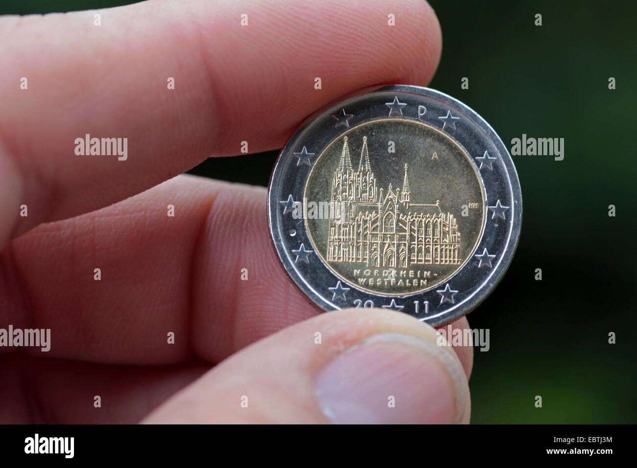 2 Euro Münze Mit Kölner Dom Deutschland Nordrhein Westfalen Köln