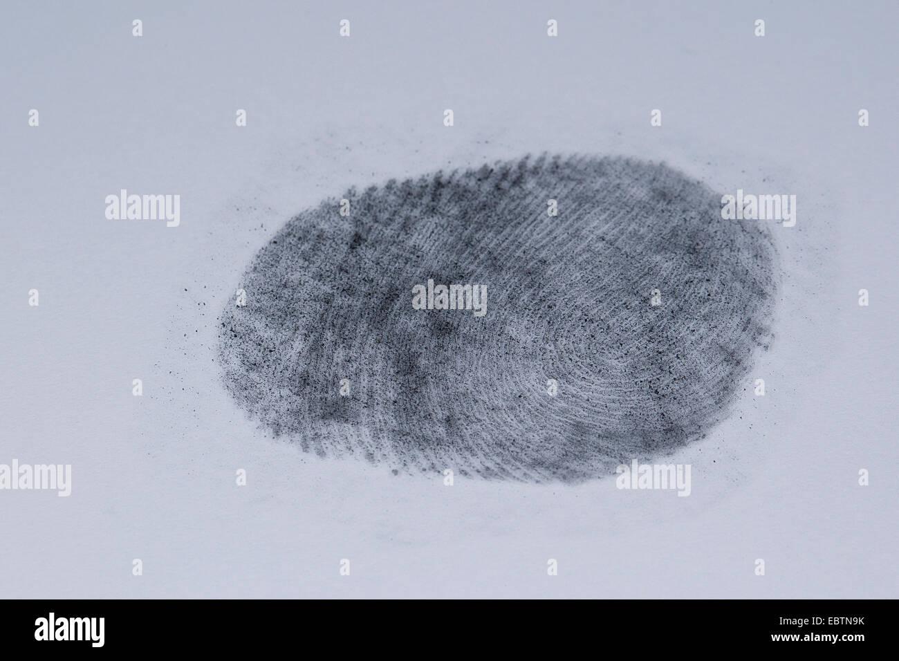 Fingerabdruck mit Graphit fixiert Stockbild