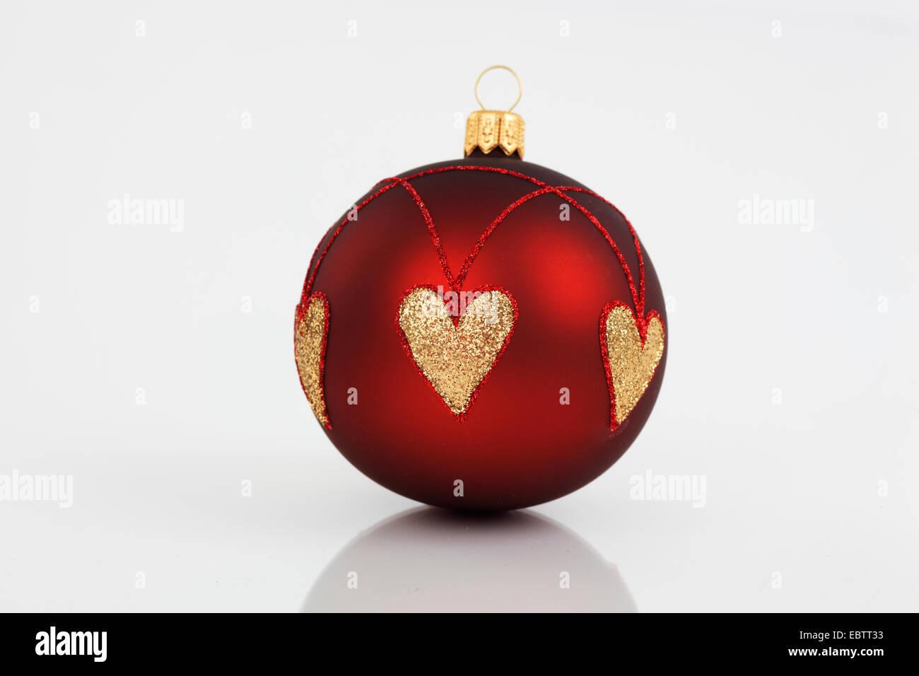 Rote Christbaumkugeln.Rote Christbaumkugeln Mit Goldenen Herzen Stockfoto Bild