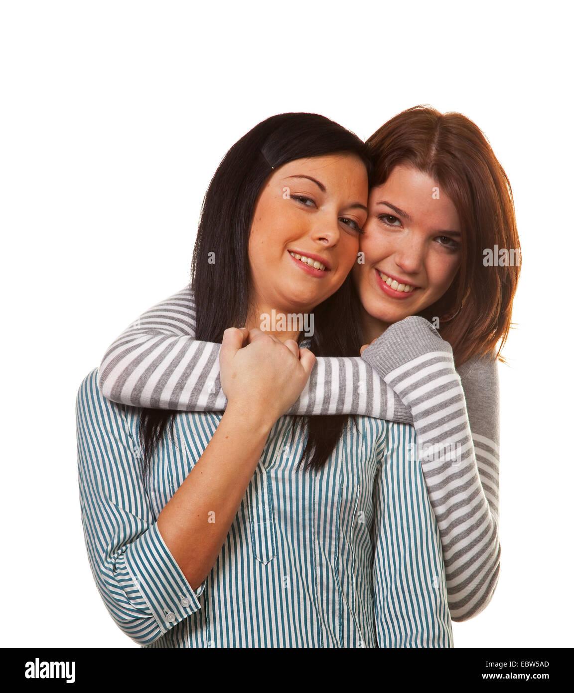 Zwei Junge Mädchen Umarmen Sich Freudig Und Bin Damit Einverstanden