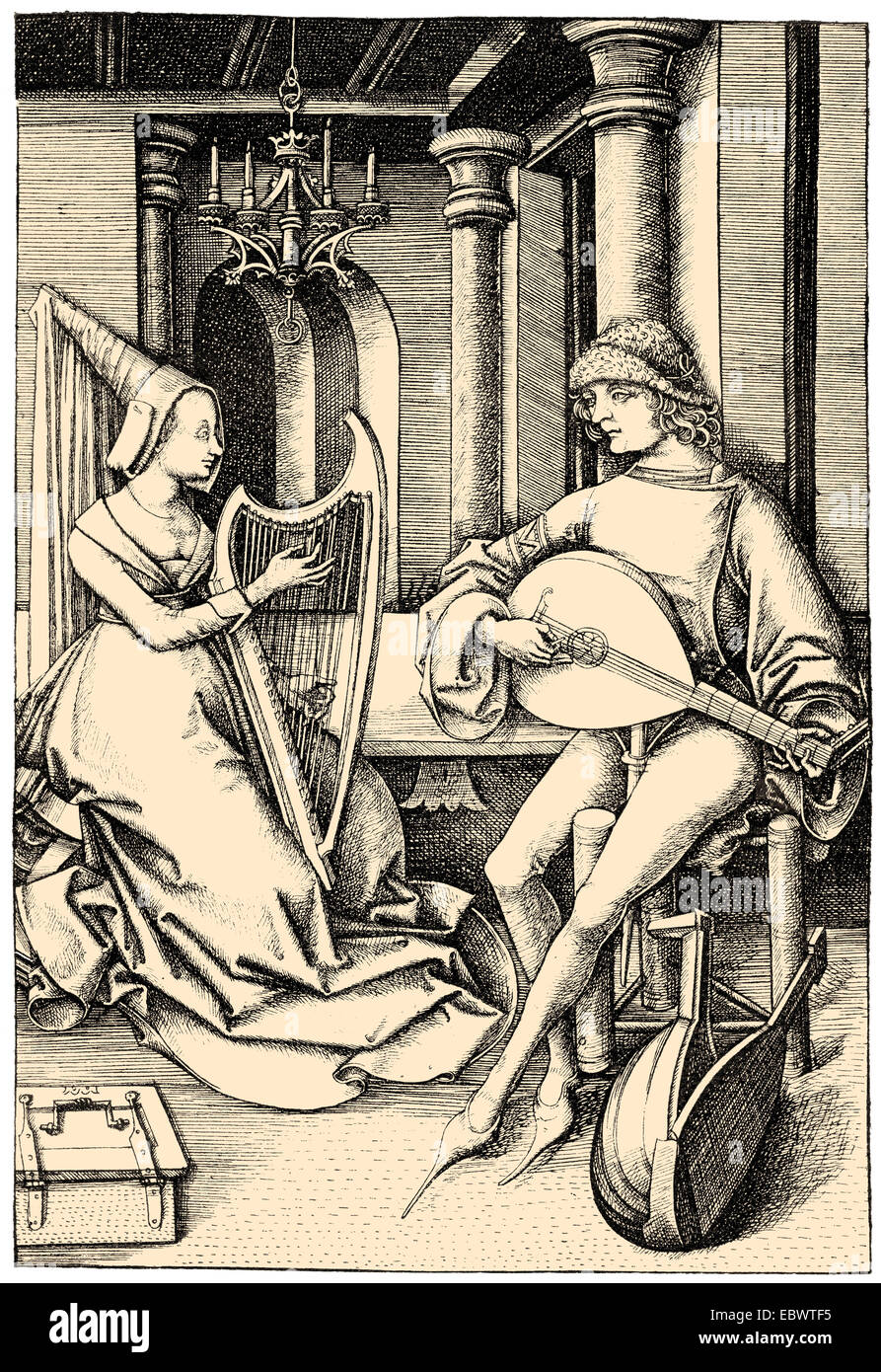 Musiker spielen eine laute und eine Harfe, 15. Jahrhundert, Musikanten Mit Einer Laute Und Harfe, 15. Halbmonatsschrift Stockbild