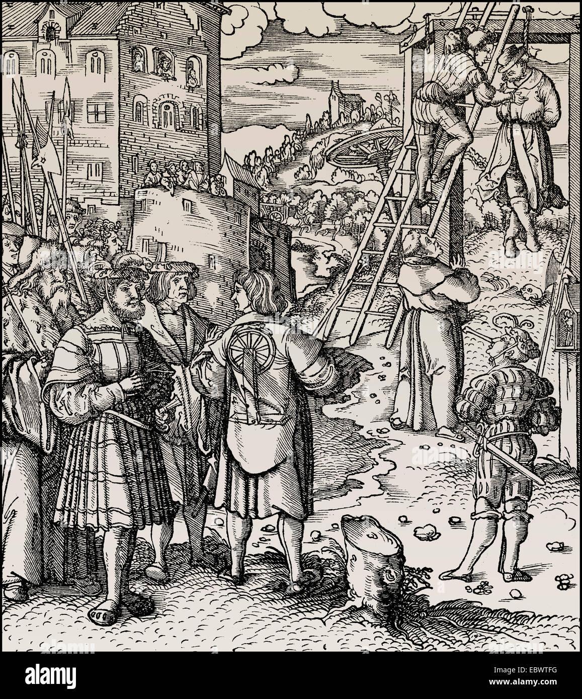 öffentliche Hinrichtung durch den Strang, 15. Jahrhundert, Entmannung Hinrichtungen Im 15. Halbmonatsschrift Stockbild