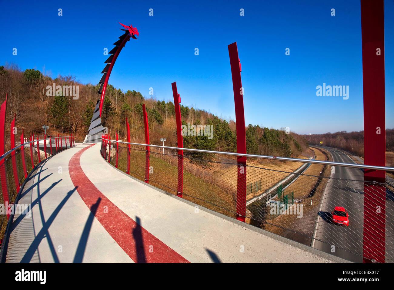 Drachenbrücke, Halde verderben Tipp, Recklinghausen, Ruhrgebiet, Nordrhein-Westfalen, Deutschland Stockbild