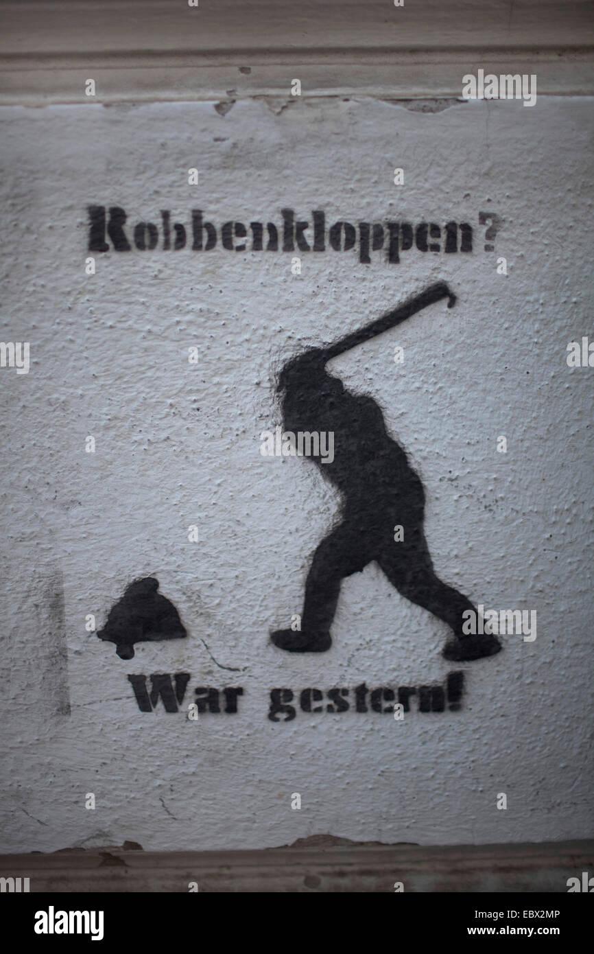 Sprühen Sie Farbe der Dichtung Jagd, Deutschland, Bonn Stockbild