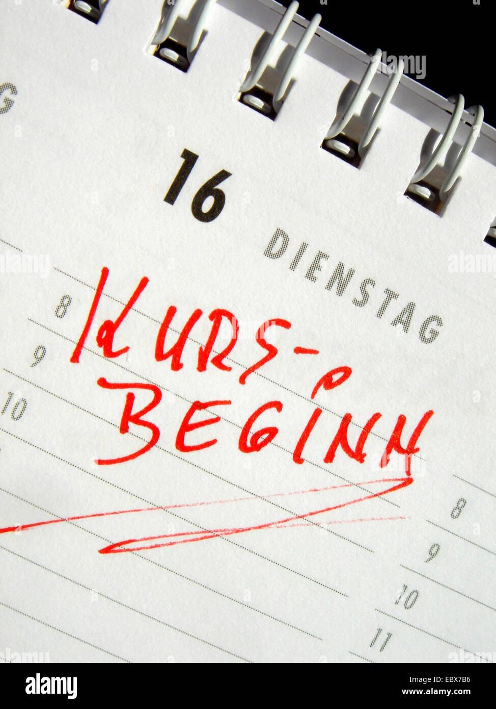 Kursbeginn - Kalender-Eintrag Stockbild