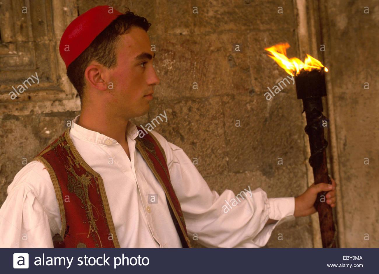Dubrovnik. Mann in traditioneller Tracht Stockbild