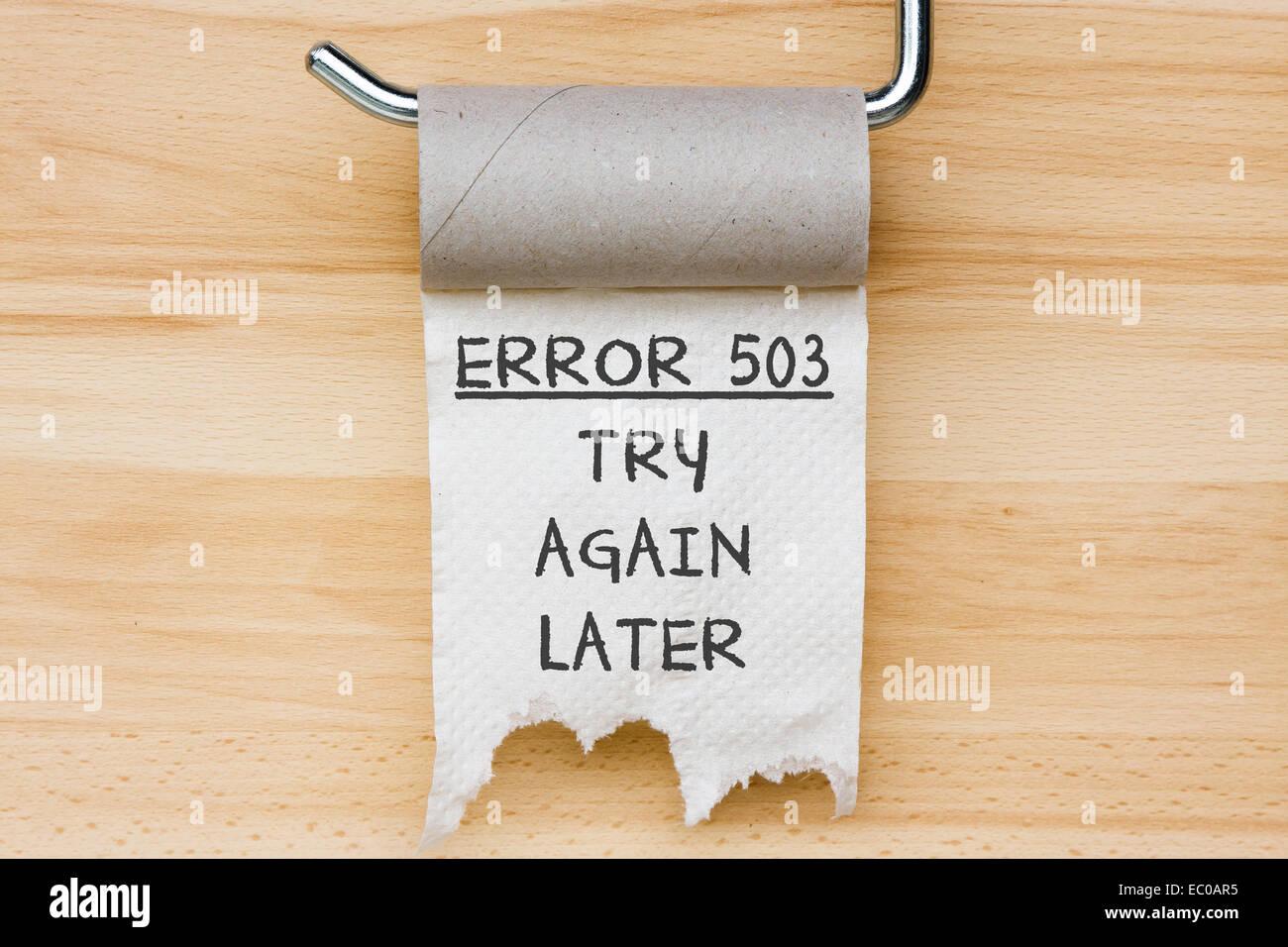 Fehler 503 - WC-Papier als Web-Nachricht Stockbild