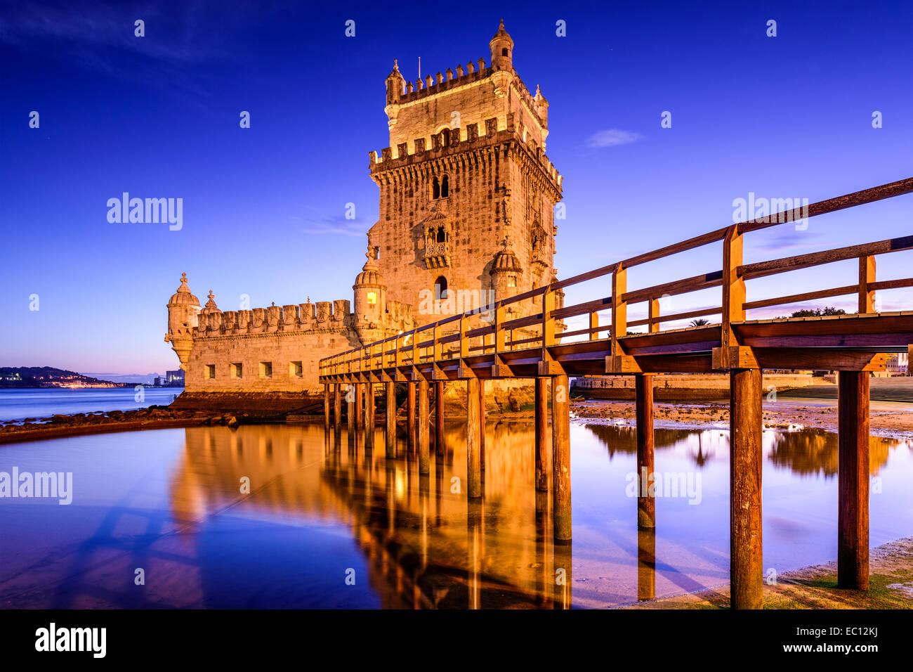 Lissabon Fluss lissabon portugal am turm belem am fluss tejo stockfoto bild