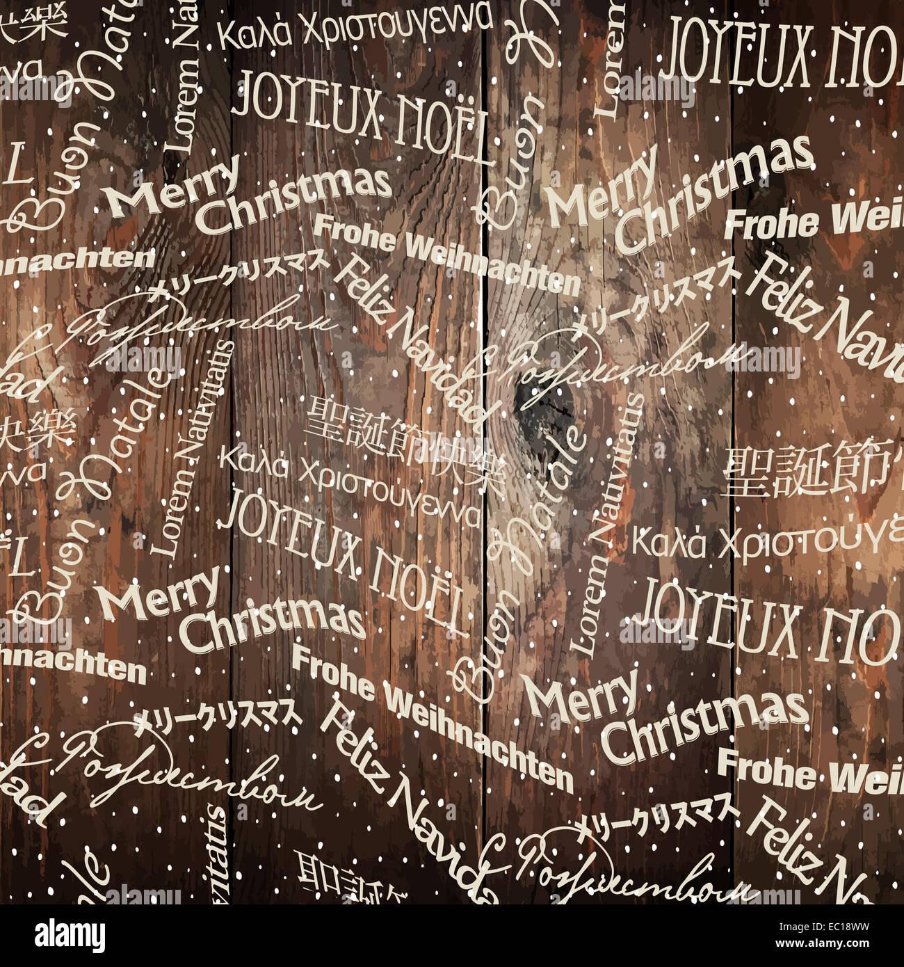 Weihnachten Worte Muster auf Holzwand. Vektor Stockfoto, Bild ...