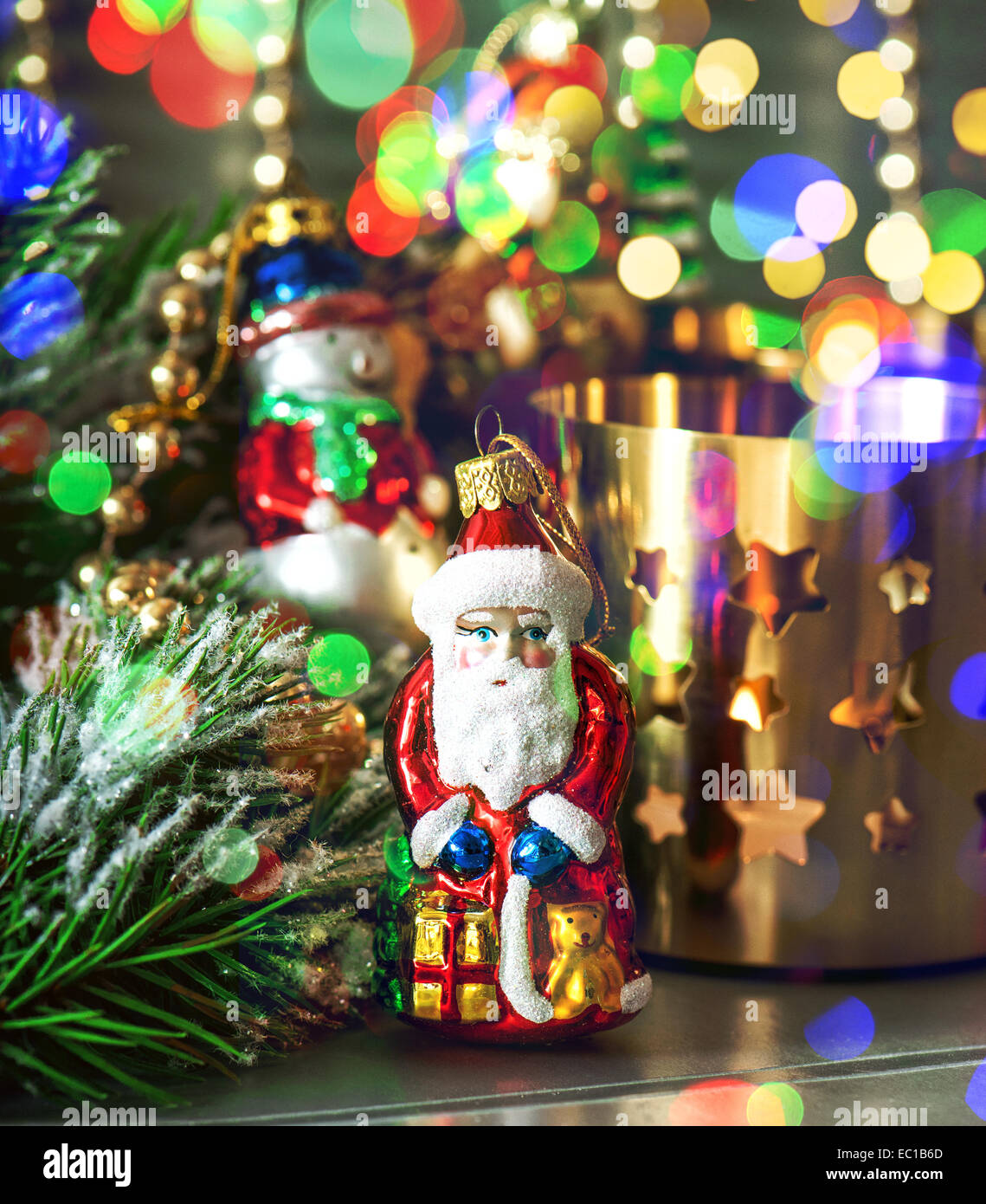 Colorful Blue Christmas Baubles Balls Stockfotos & Colorful Blue ...