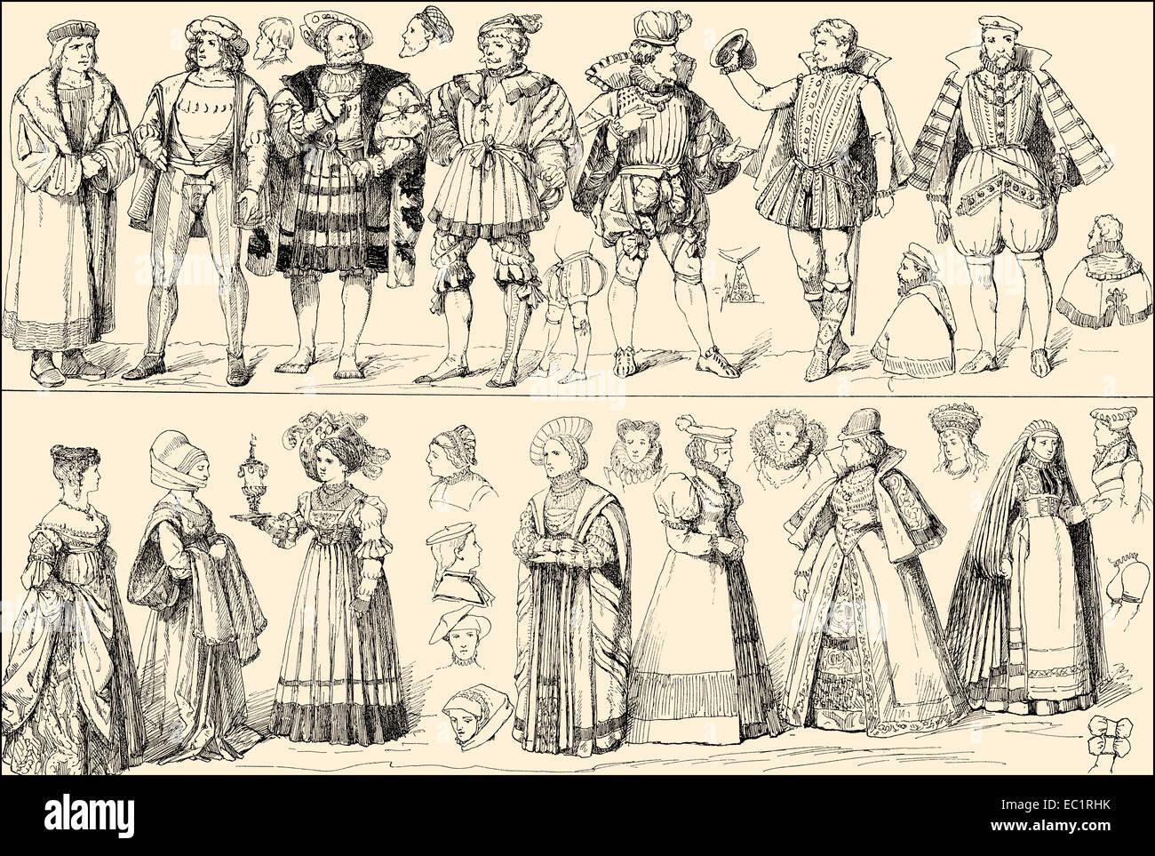 Kostüme aus dem 16. Jahrhundert, Deutschland Stockbild