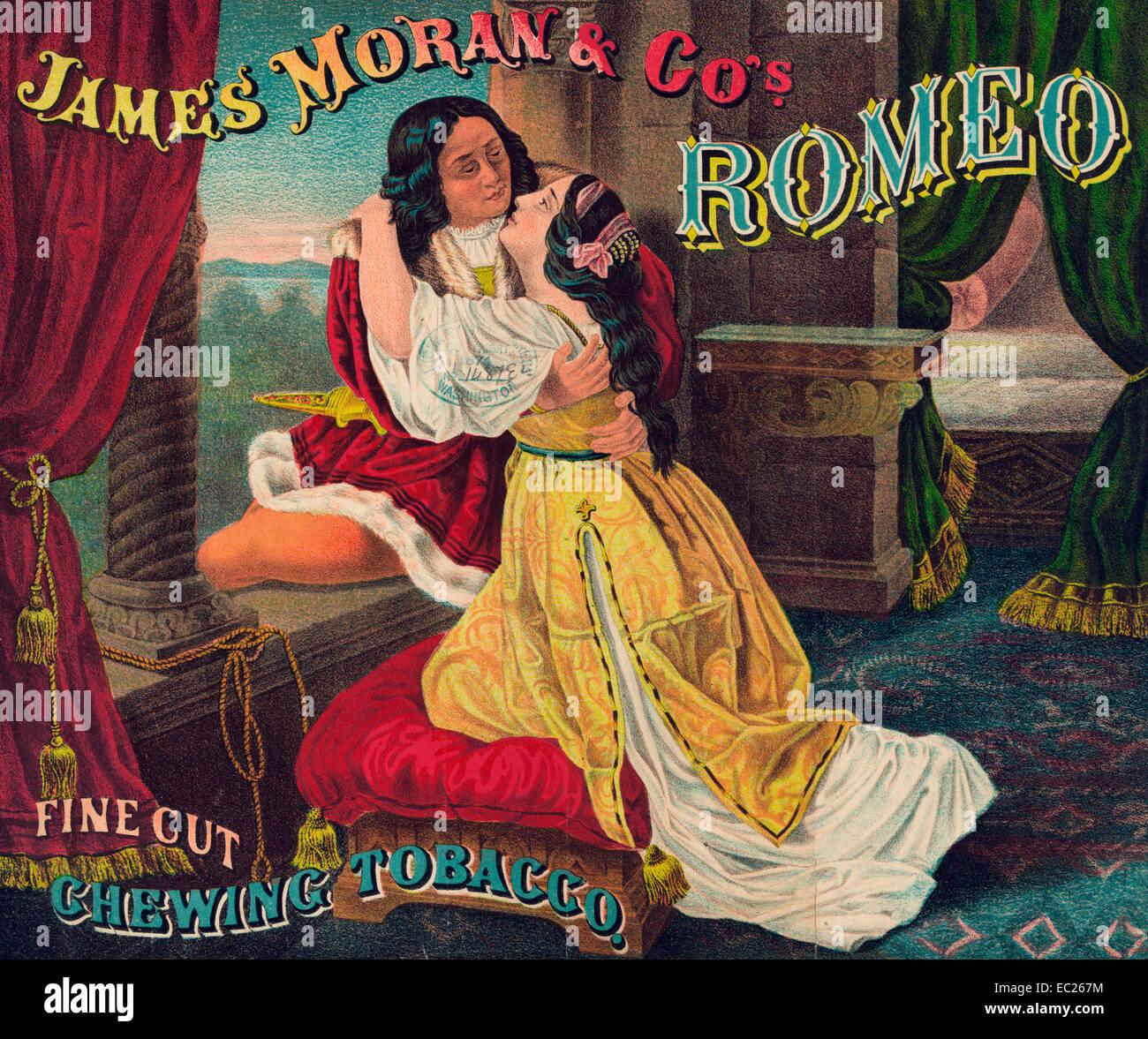 James Moran & Co. Romeo, Feinschnitt, Kautabak - Zusammenfassung: Tabak-Paket-Label zeigen, Romeo und Julia, Stockbild