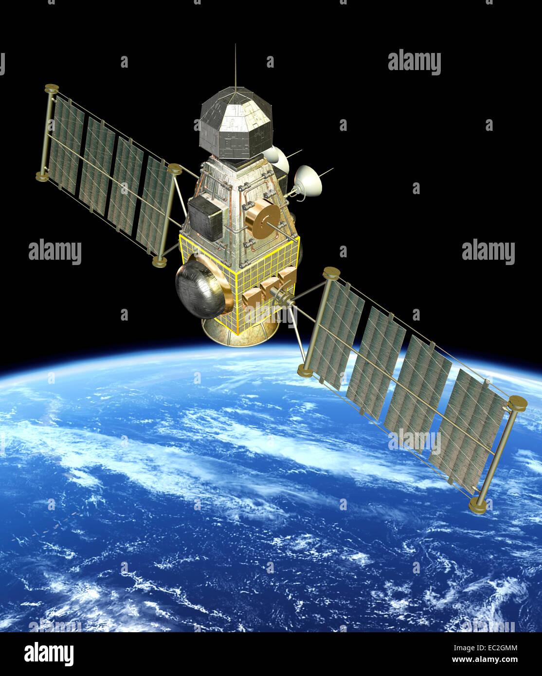 Künstler-Konzept des Raumfahrzeugs und der Erde Stockbild