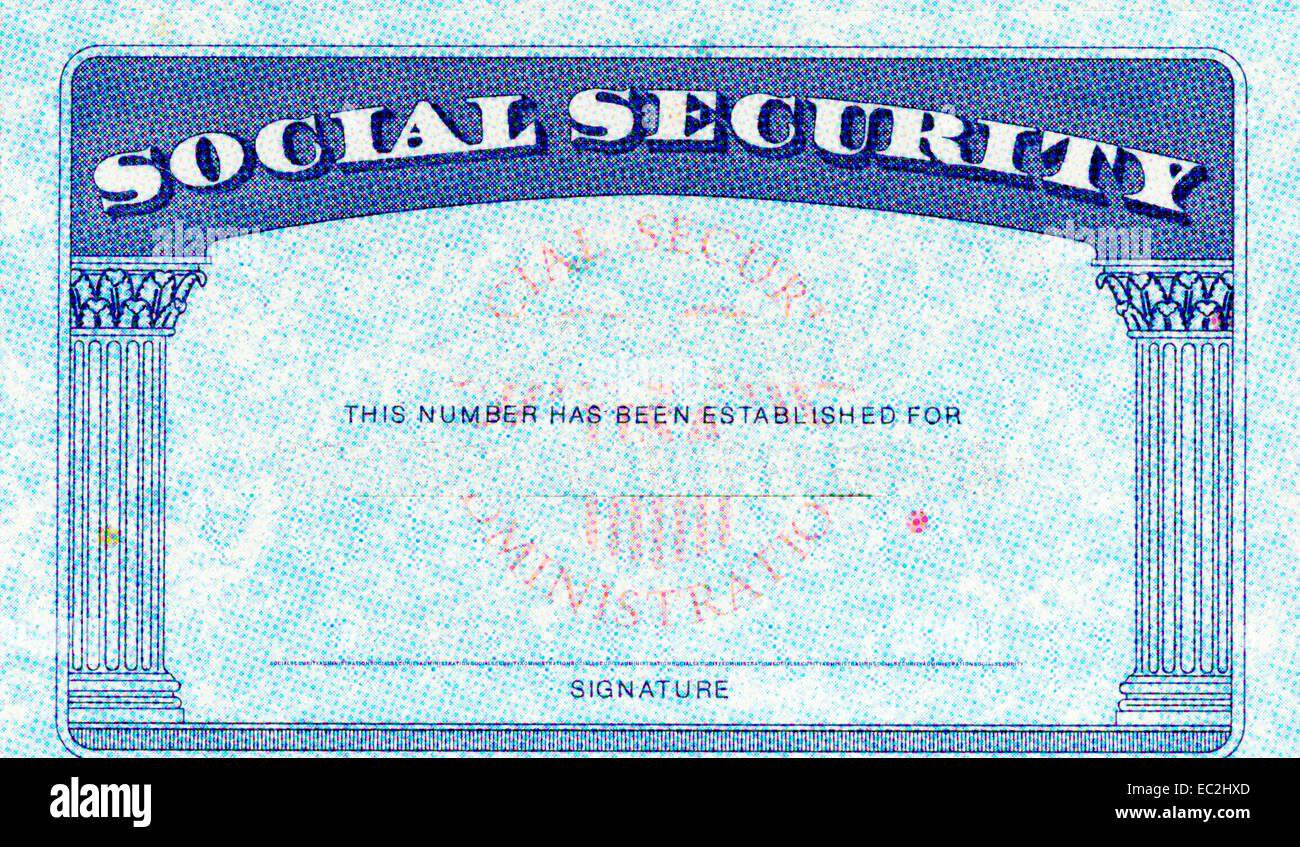 Vereinigten Staaten-Sozialversicherungsausweis Stockbild