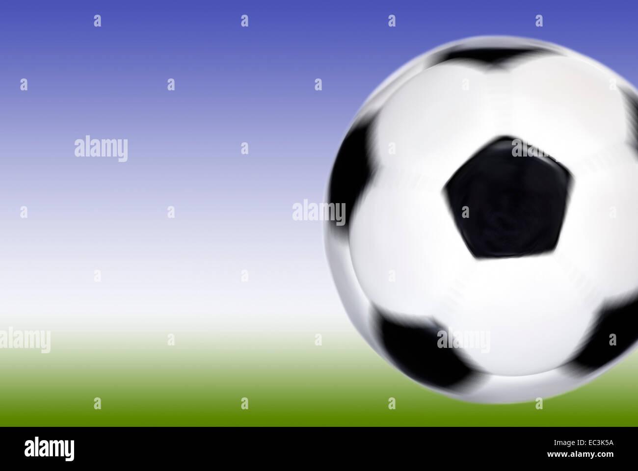 Fußball in der Fruchtfolge Stockbild