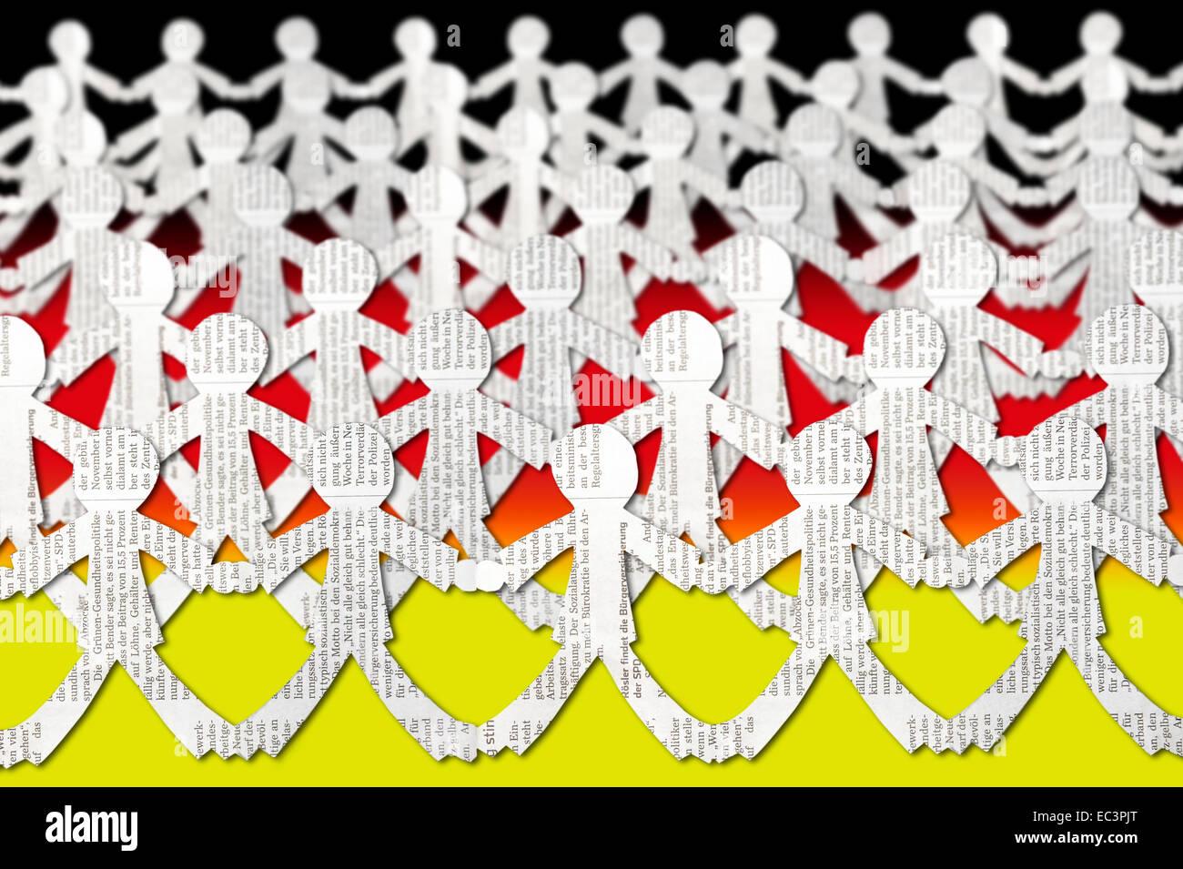 Menschenkette, Widerstand der Öffentlichkeit Stockfoto