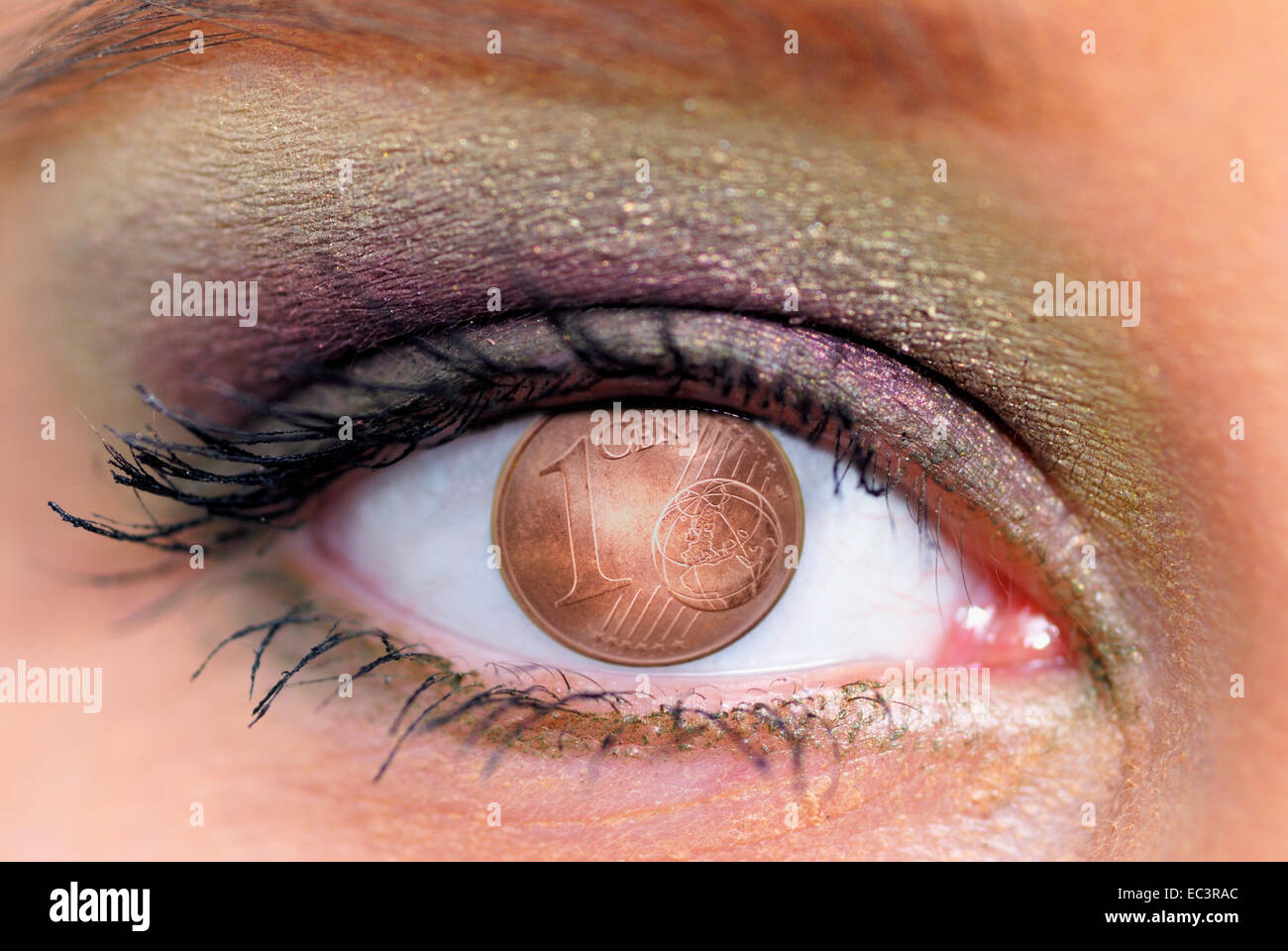 Braune Augen Einer Frau Cent Münze Stockfoto Bild 76301524 Alamy