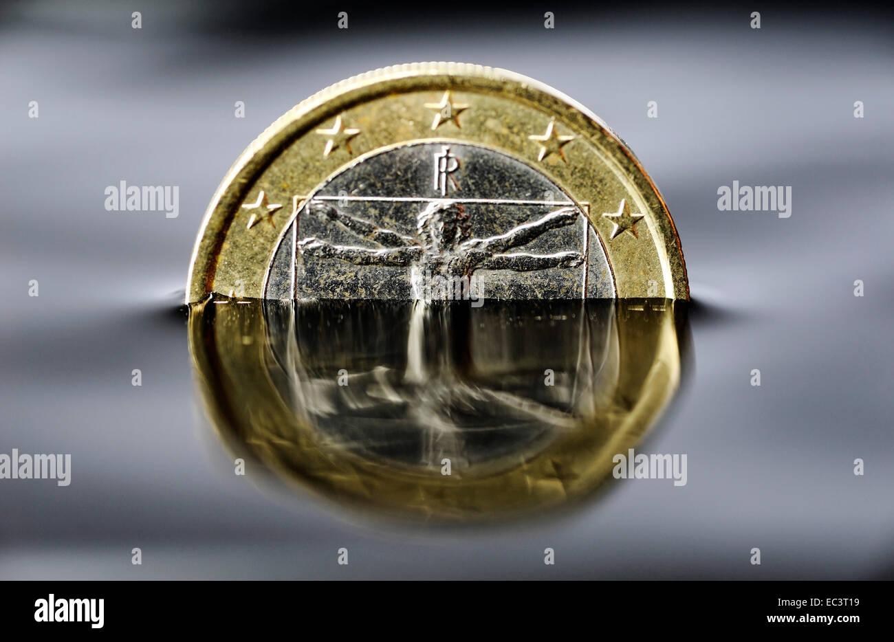 Italienischen 1 Euro Münze Ertrinken Im Wasser Schuldenkrise In