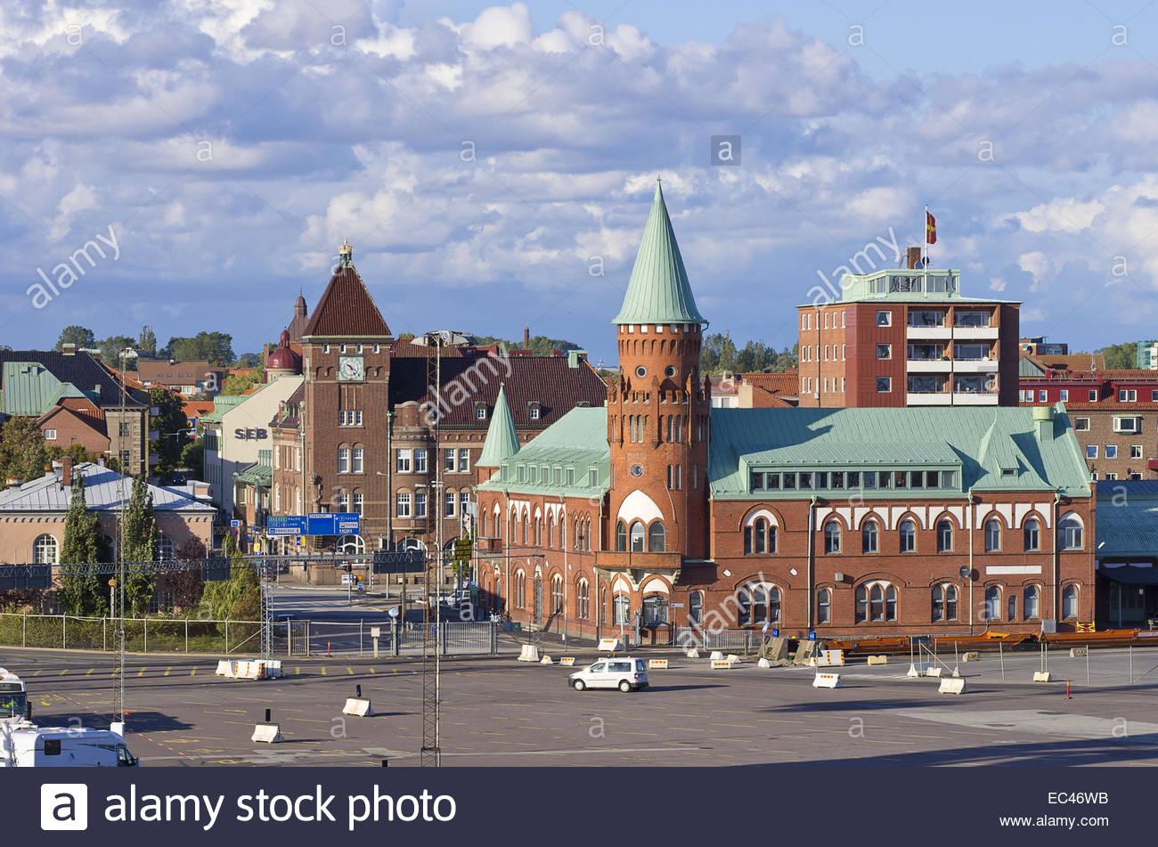 Markante Gebäude in den Hafen von Trelleborg, Schweden Stockbild
