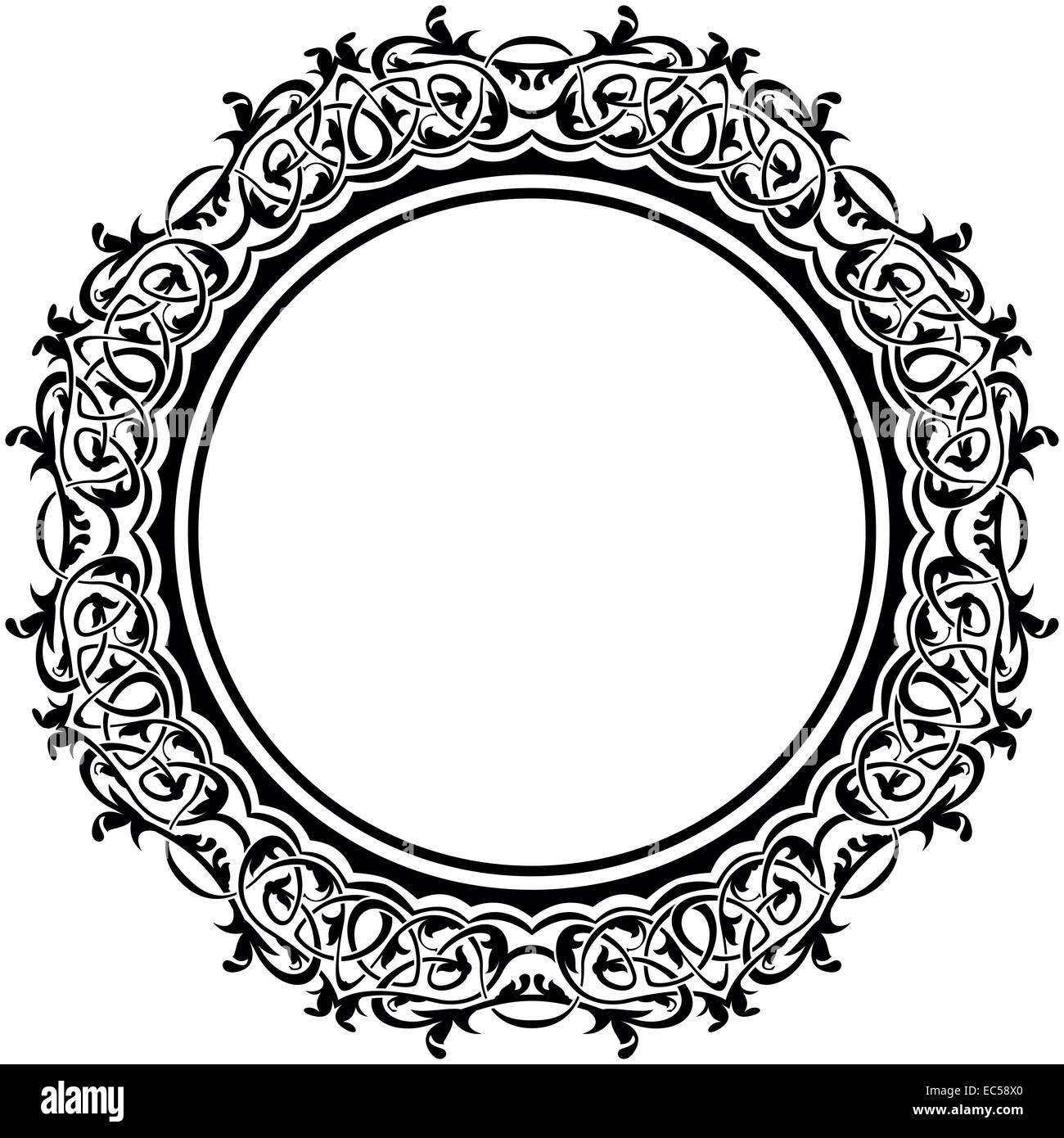 Schwarzer Rahmen mit Bordüre auf weißem Hintergrund Stockfoto, Bild ...