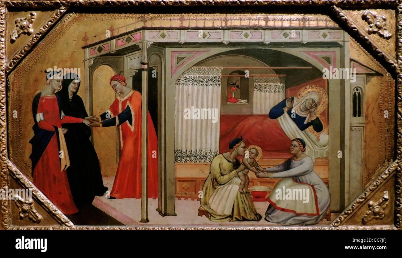 Die Geburt der Jungfrau Maria vom Meister des Ashmolean Predella. Stockbild