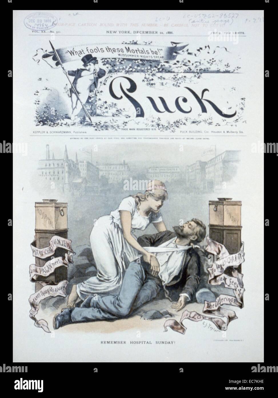 Denken Sie daran, Krankenhaus Sonntag! Eine Frau aus Nächstenliebe helfen, einen Mann auf dem Boden liegend Stockbild