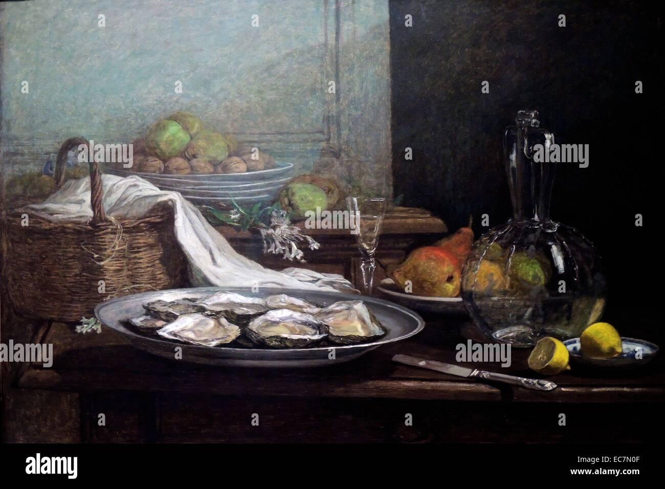 Stillleben mit Austern von Eugène Boudin Stockbild