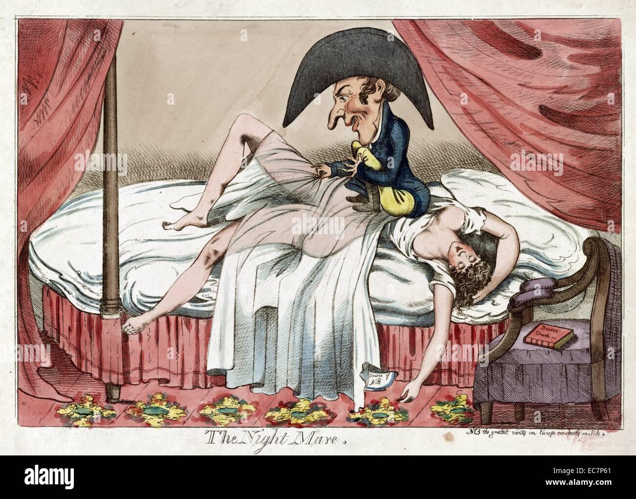 Die Nacht Stute Cartoon Zeigt Eine Sparlich Bekleidete Frau Schlaft
