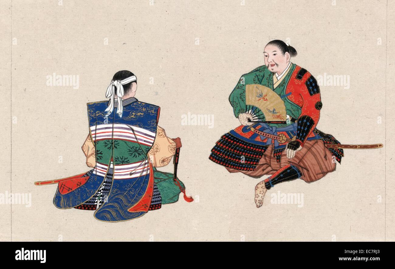 Vordere und hintere Ansicht von Uniform- und Rüstung für samurai Stockbild