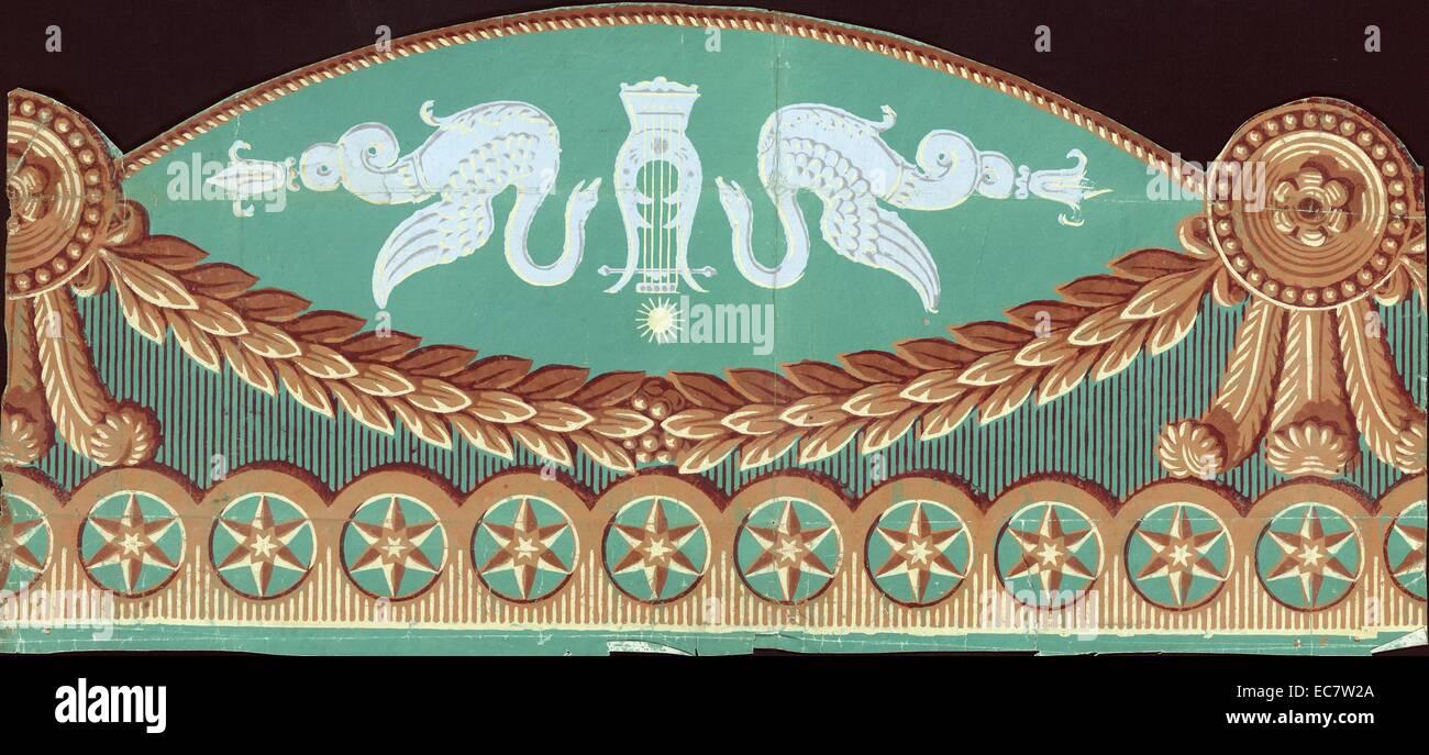 Papier hängen 47 Virchaux & Co., 1815. Tapeten Design begleitet von gedrucktes Etikett, das Muster beschreiben: Stockbild