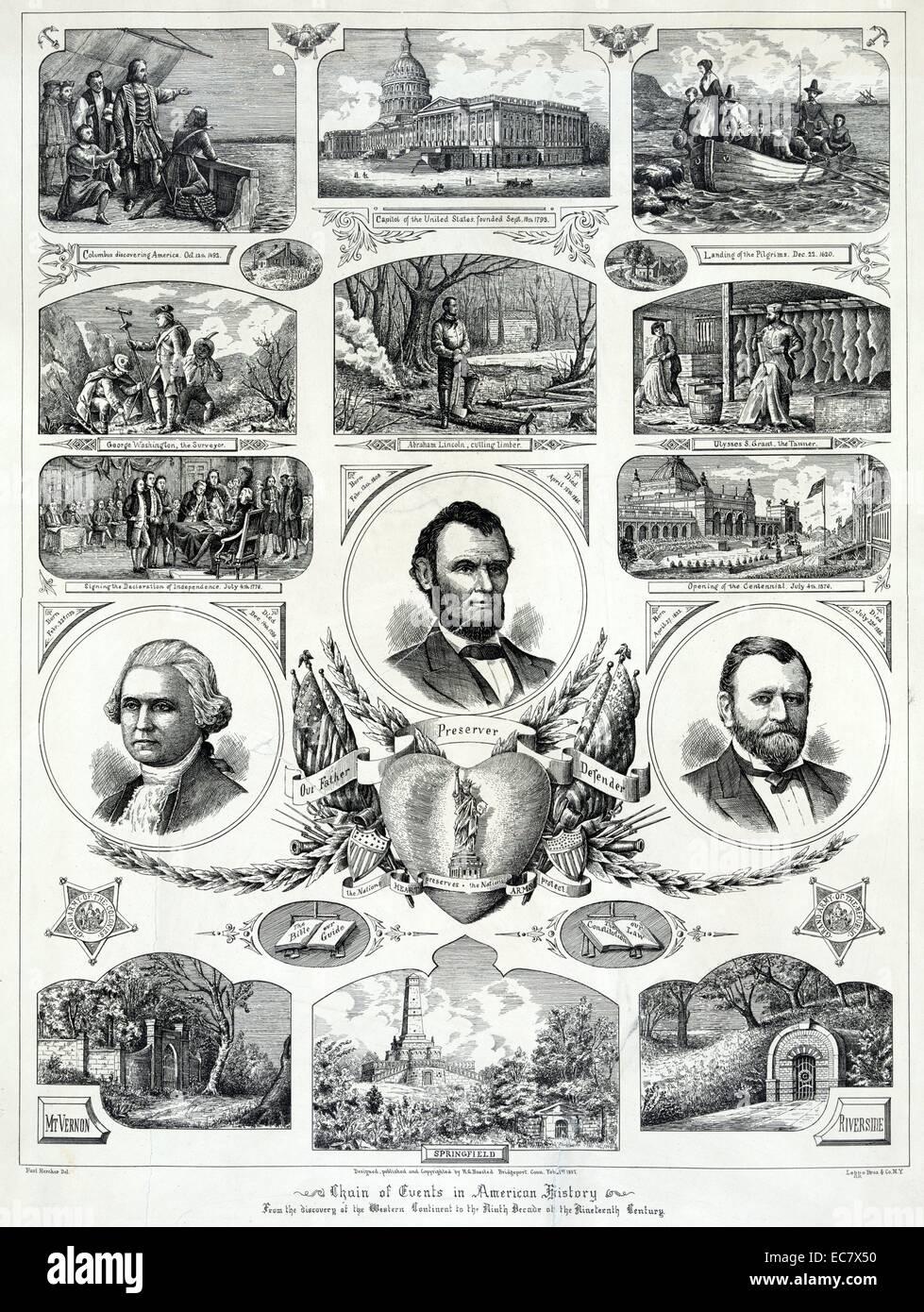 Wählen Sie Ereignisse der amerikanischen Geschichte Stockbild