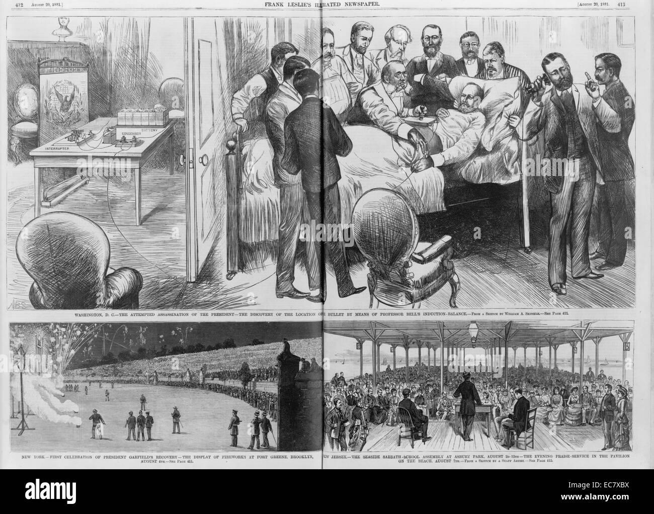 Ereignisse im Zusammenhang mit der Ermordung von Präsident Garfield Stockbild