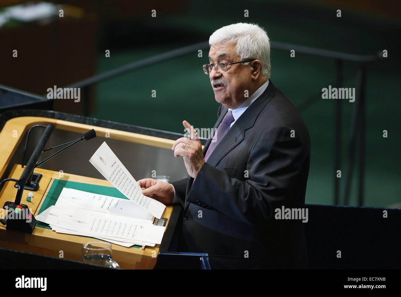 Mahmud Abbas bei der UN-Generalversammlung Assembly2012. Stockbild