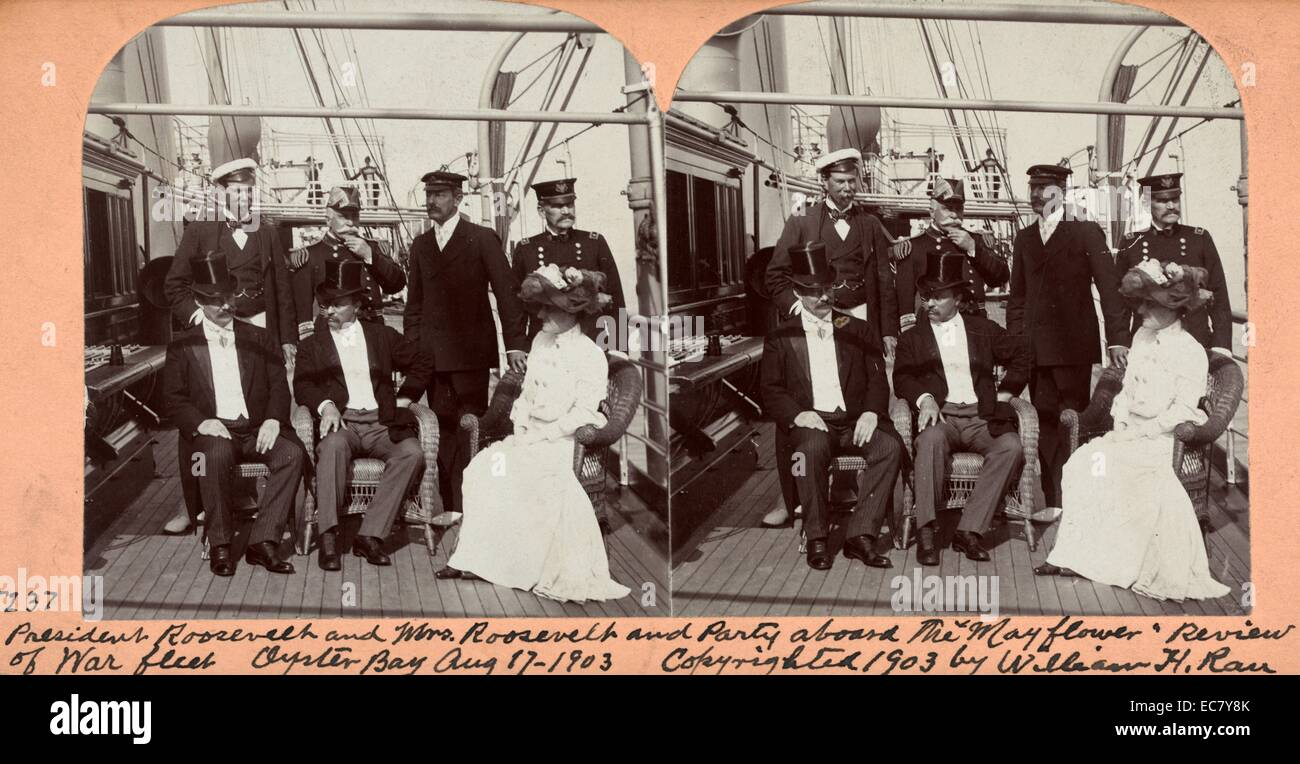 Präsident und Frau Roosevelt an Bord der Mayflower Stockbild