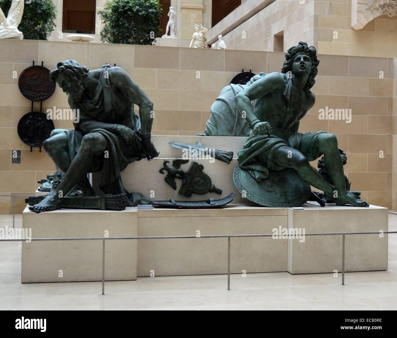 """Statue, Spanien darstellt. Arbeit mit dem Titel """"Gefangen"""". Stockbild"""