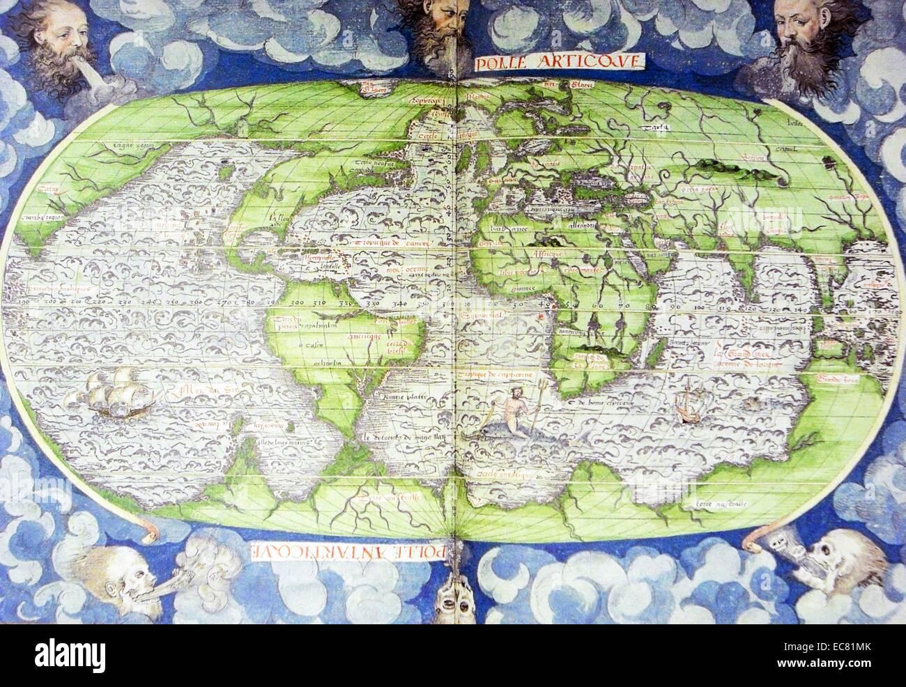 16. Jahrhundert-Karte der Welt Stockbild