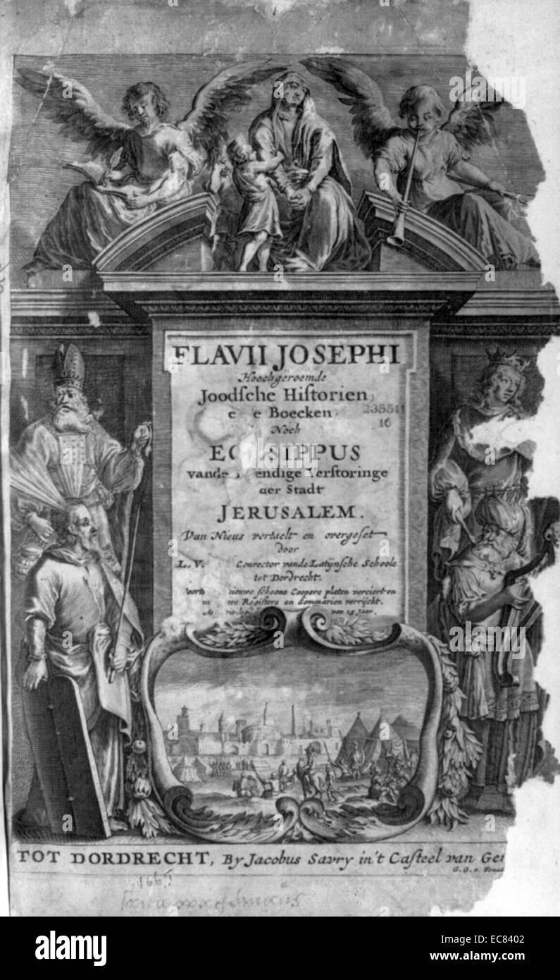 Deckblatt Aus Die Geschichte Der Juden Von Titus Flavius Josephus
