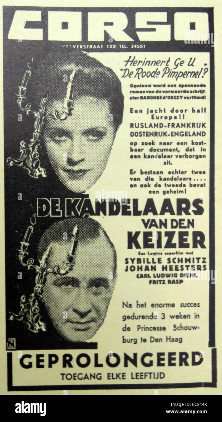 Film mit dem Titel De Kandelaars van Den Keizer (die Leuchter des Kaisers). Stockbild
