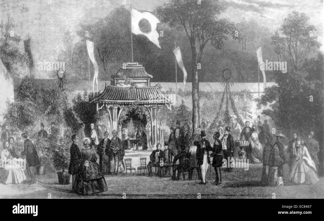 Empfang von japanischen Gesandten im Garten der Händel-Gesellschaft; Amsterdam 1860 Stockfoto