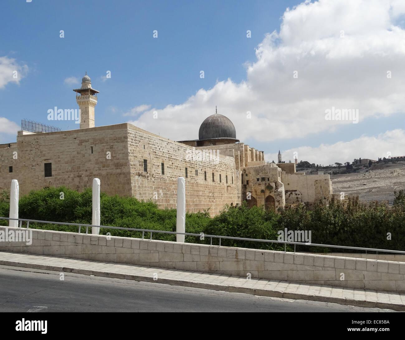 Die Al-Aqsa-Moschee; die drittheiligste Stätte des Islam; Das Hotel liegt in der Altstadt von Jerusalem. Stockbild