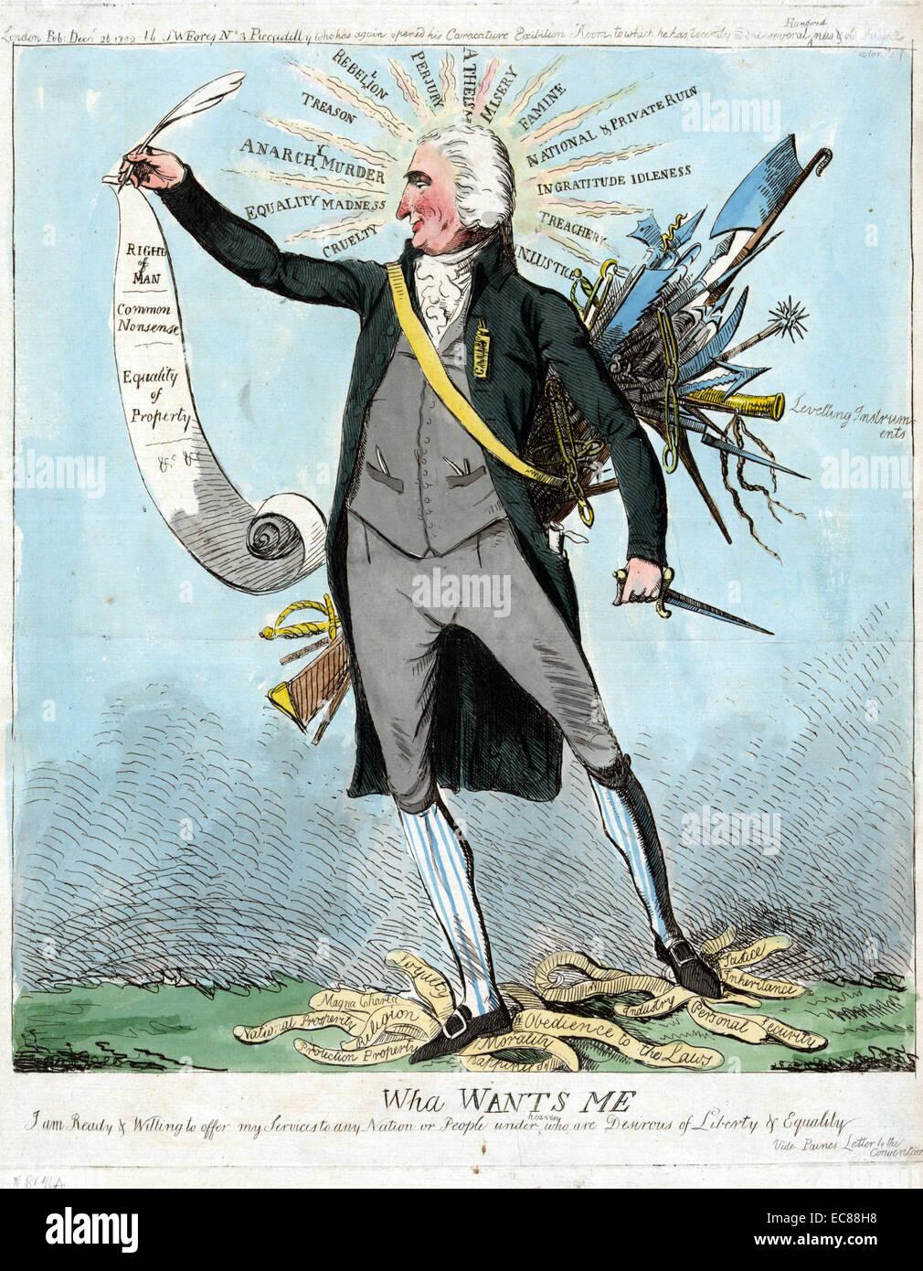 Druck von Thomas Paine Stockbild