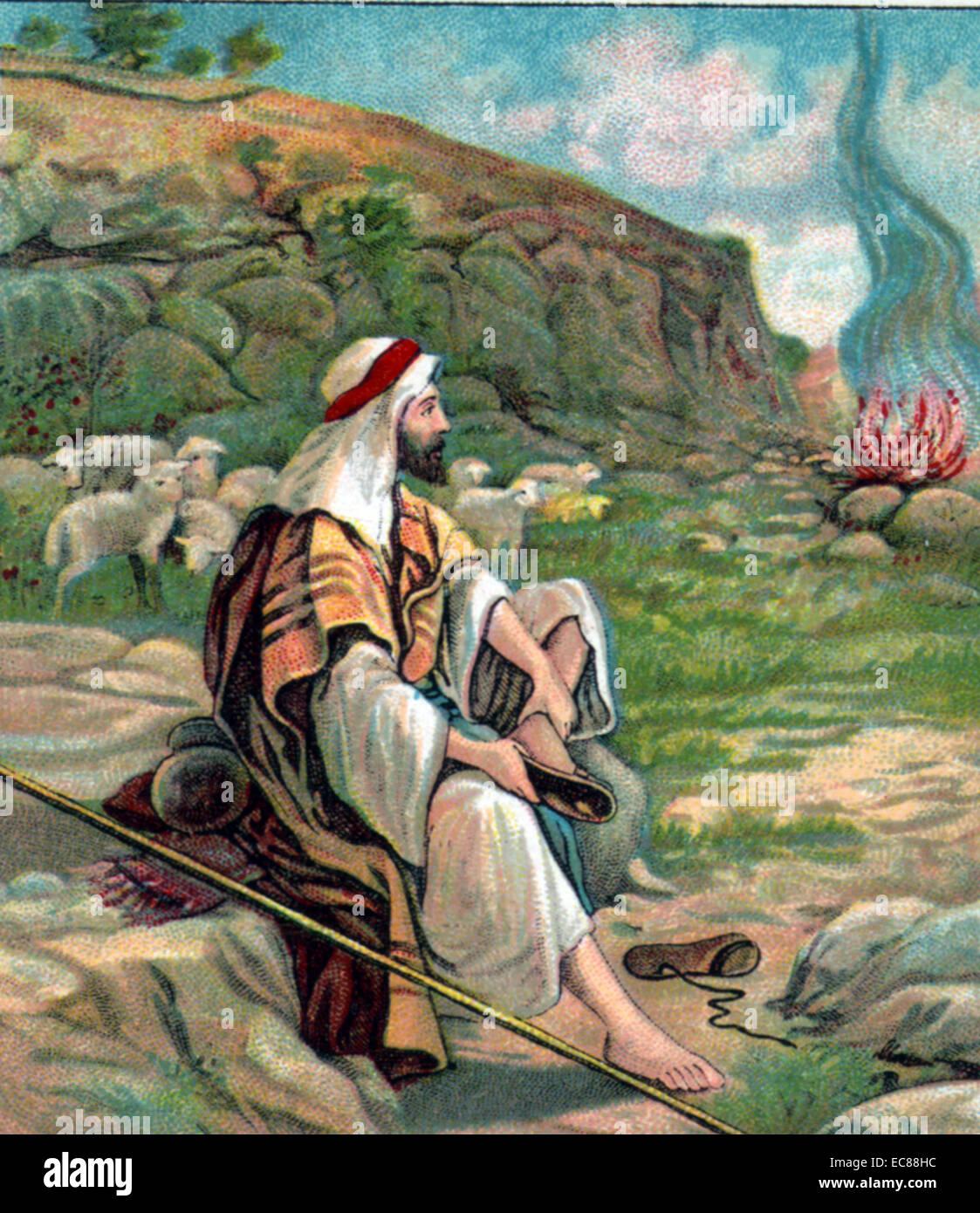 Moses hört Gott im brennenden Dornbusch. Szene aus der Bibel des ...