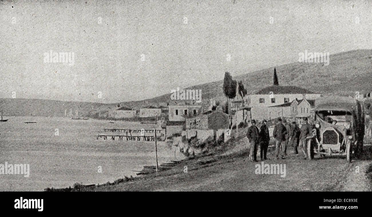 Der Hafen von Santi Quaranta und die Straße Koritza. Stockbild