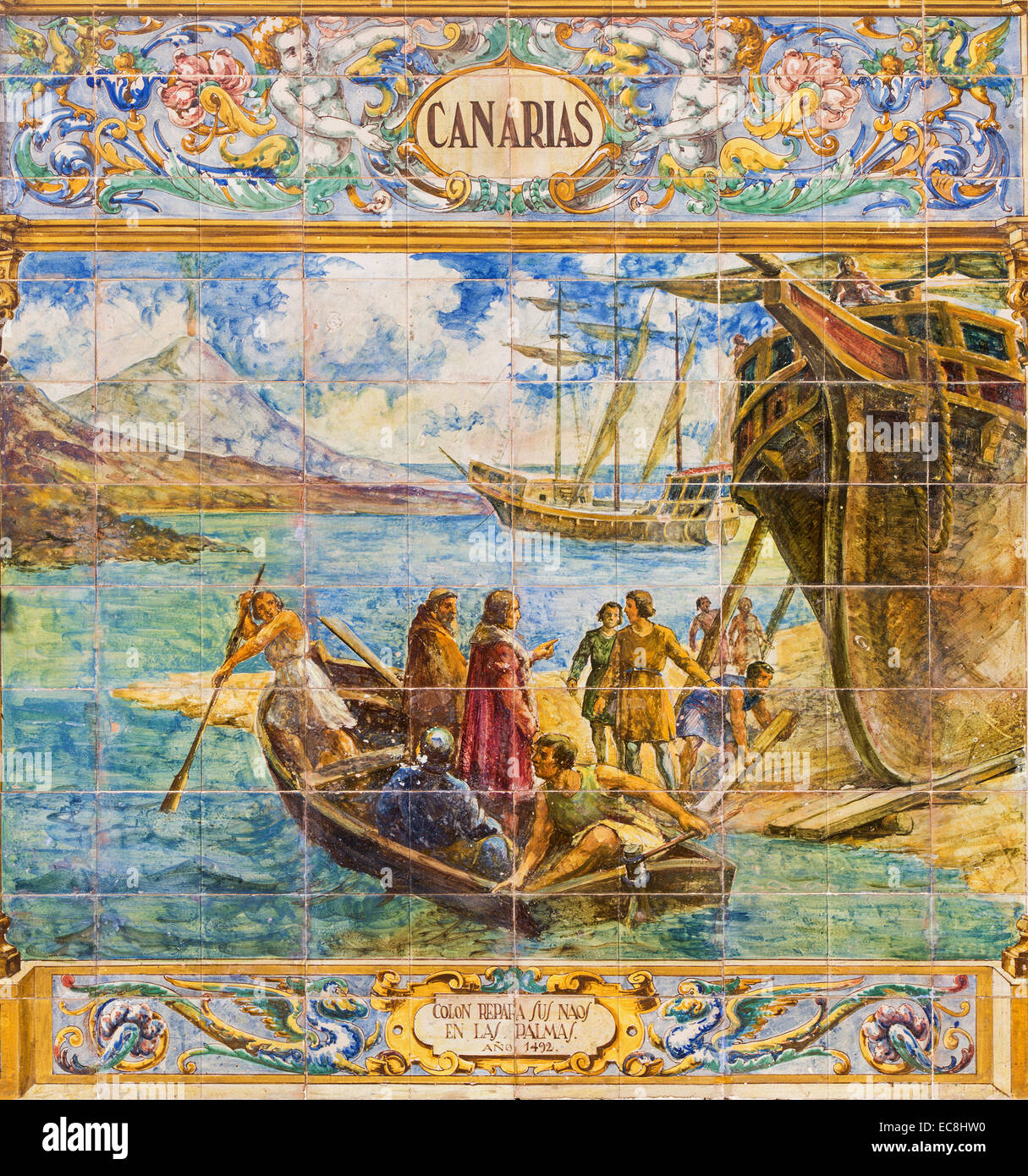 """Sevilla - Canarias als einem gefliesten """"Provinz-Nischen"""" entlang der Wände von der Plaza de Espana Stockbild"""