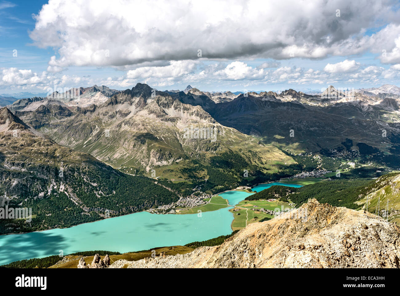 Blick vom Corvatsch Richtung Silvaplana, Engadin, Schweiz. Stockbild