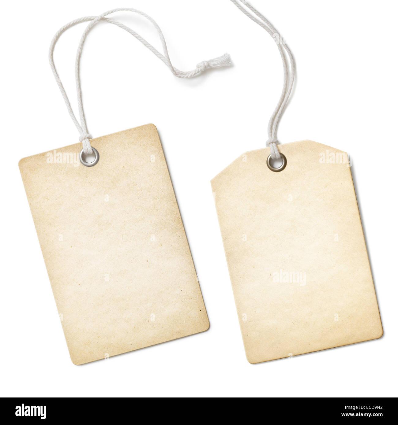 Leere alte Papier Tuch-Tag oder Aufkleber Satz isoliert auf weiss Stockbild