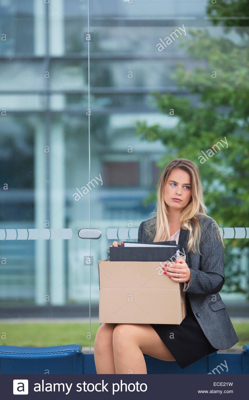 Frau frustriert Frust Angst Konkurs Stockbild