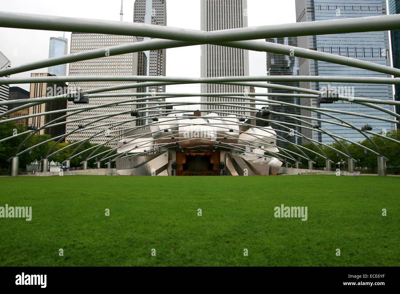 Jay Pritzker Pavilion Millenium Park Architektur Blau Buero Chicago Stadt Stadt Amerika amerikanische Aussergewoehnlich Stockbild